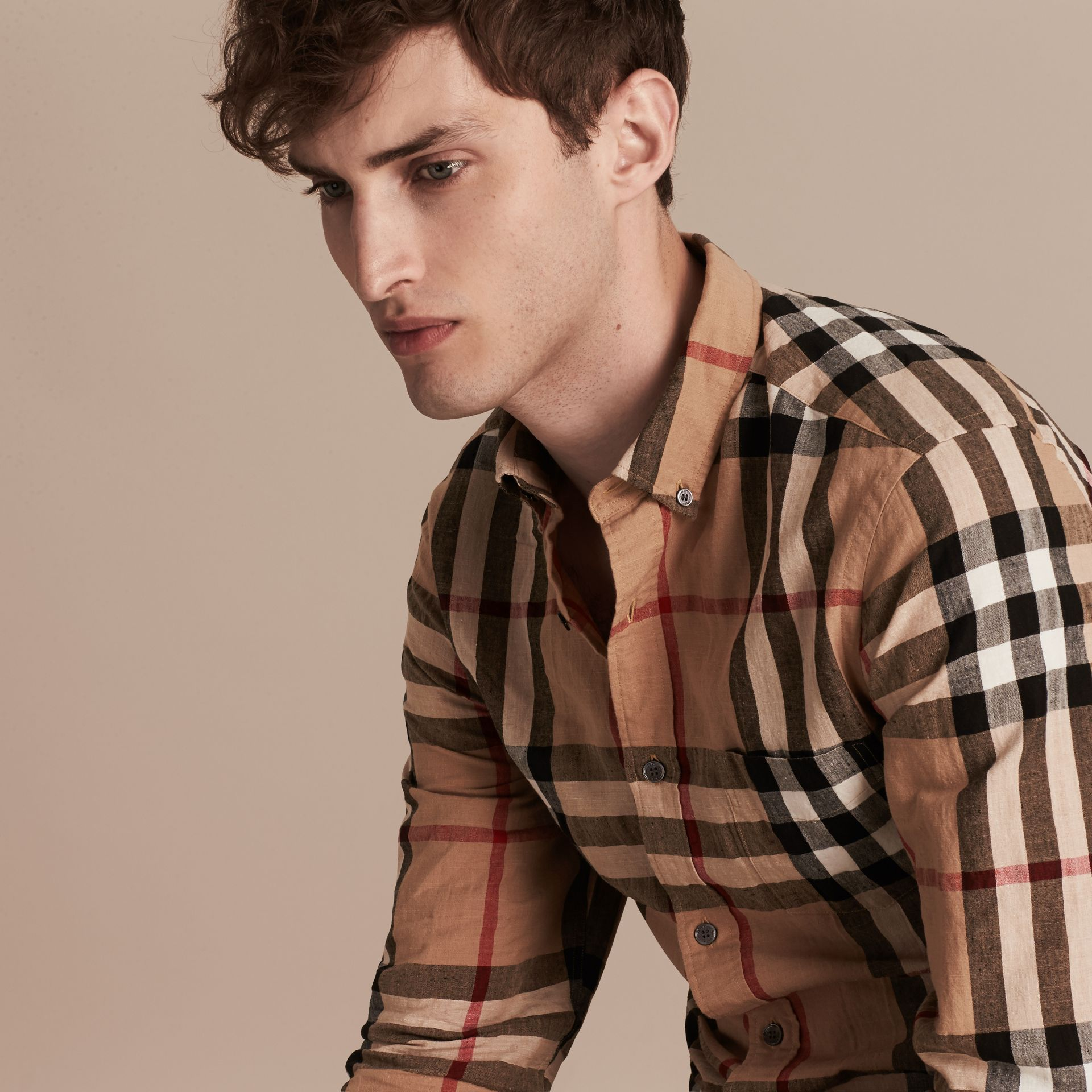 Button-down Collar Check Linen Cotton Shirt Camel - gallery image 5