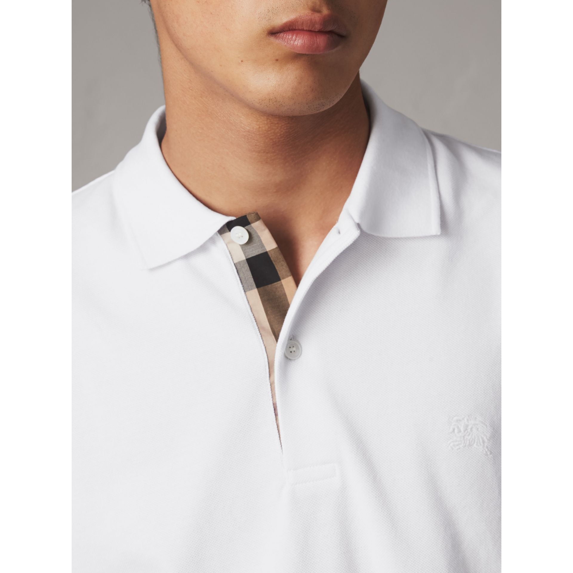 Check Placket Cotton Piqué Polo Shirt in White - Men | Burberry Hong Kong - gallery image 2