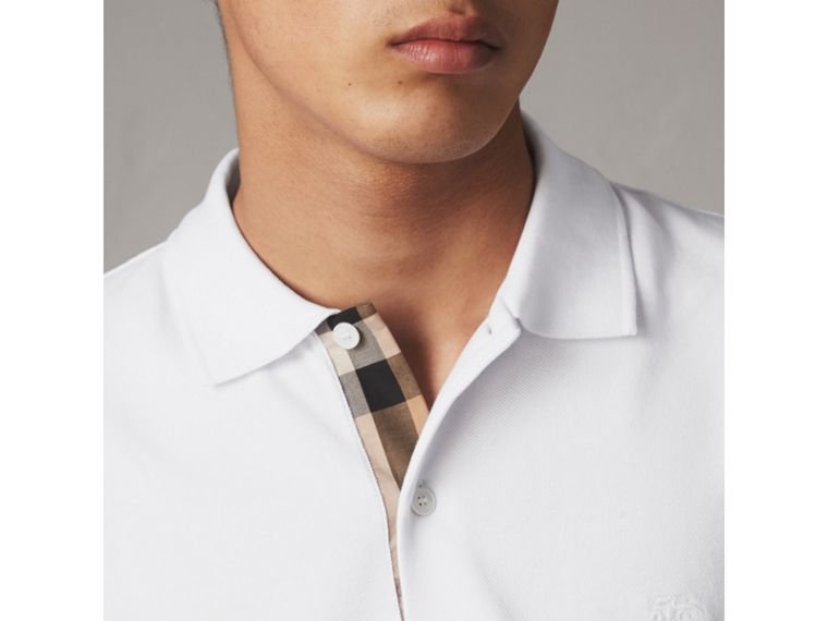 Check Placket Cotton Piqué Polo Shirt in White - Men | Burberry Hong Kong - cell image 1