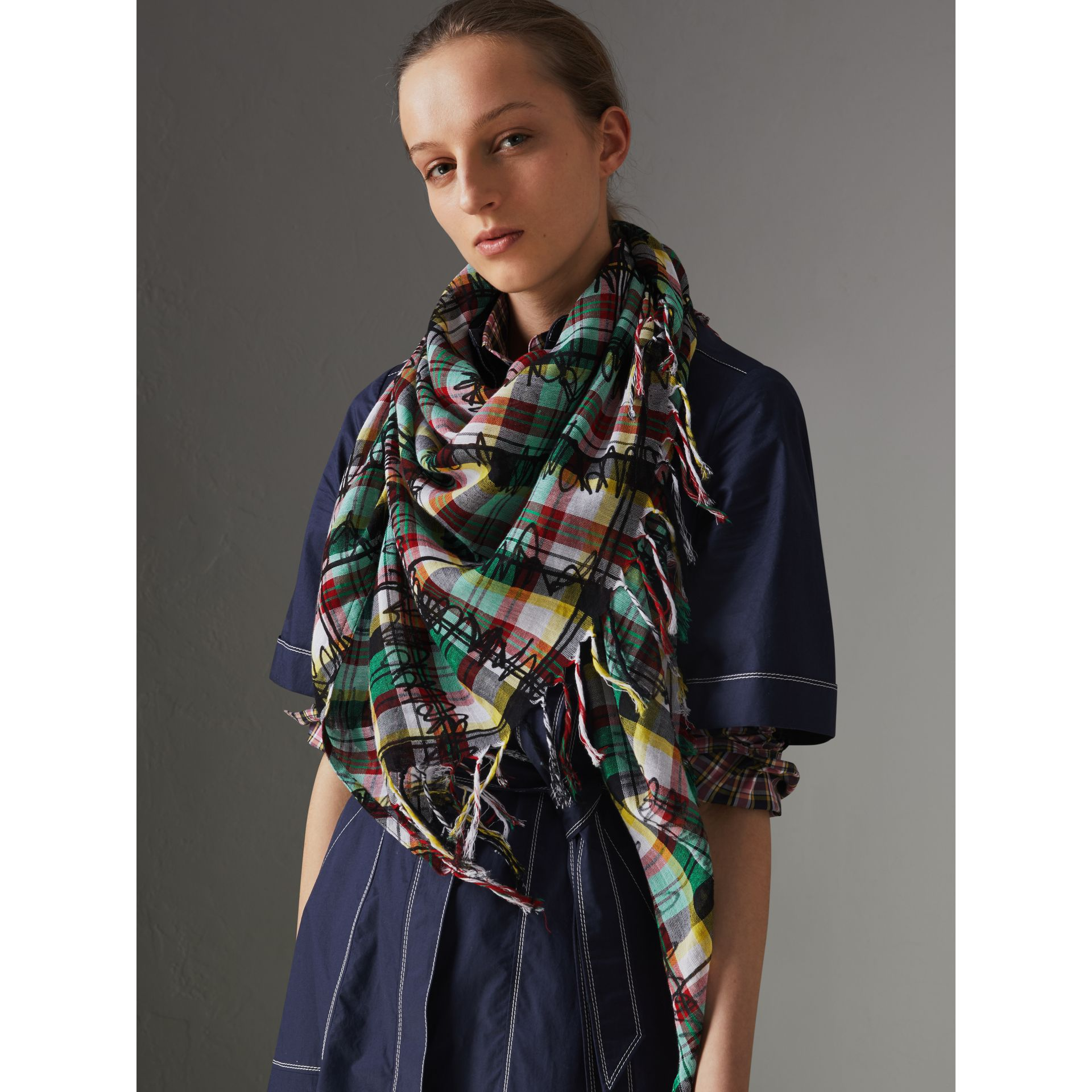 The Burberry Bandana in Scribble Check Cotton Silk in Pine Green | Burberry United Kingdom - gallery image 3