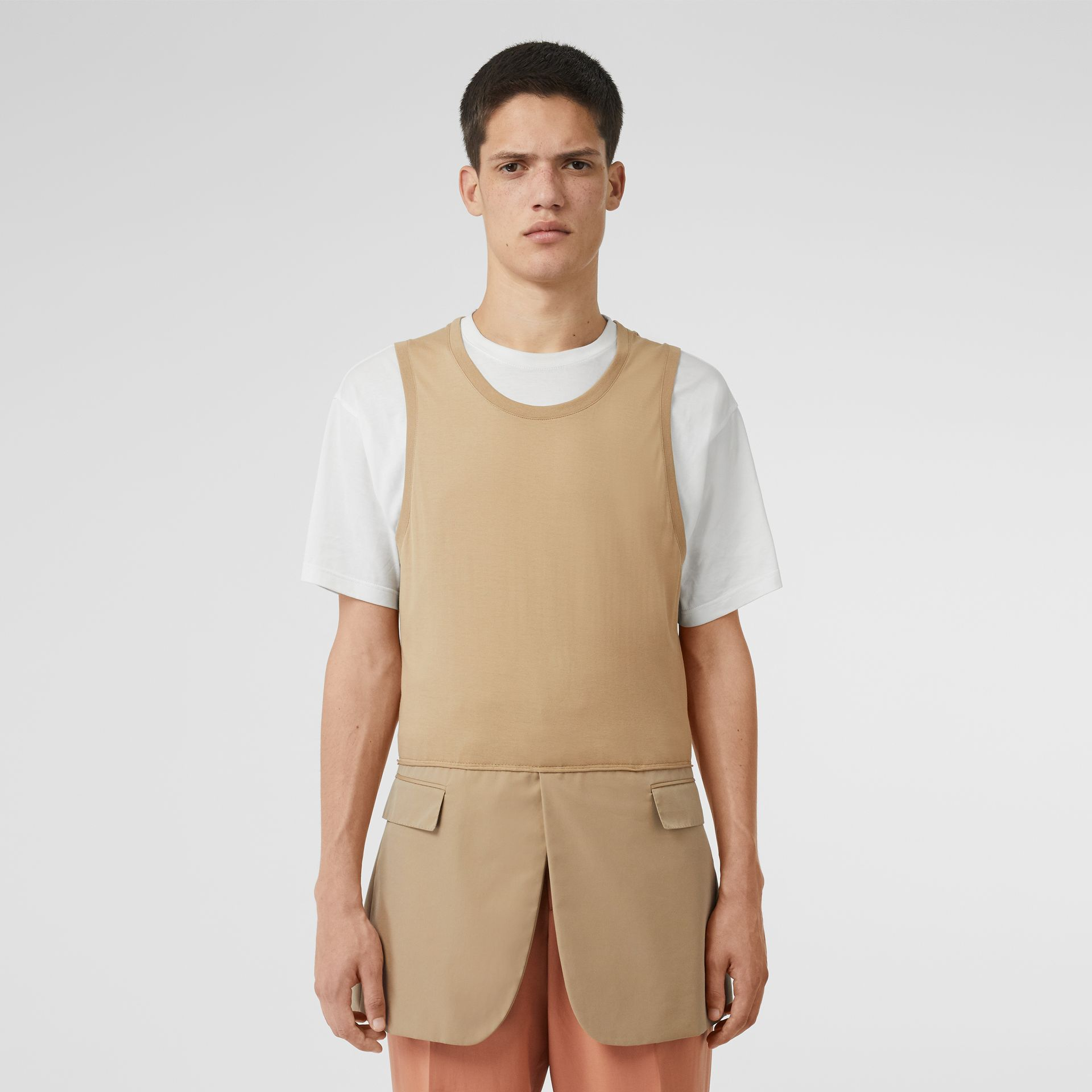 Suit Panel Cotton Vest in Honey | Burberry - gallery image 5