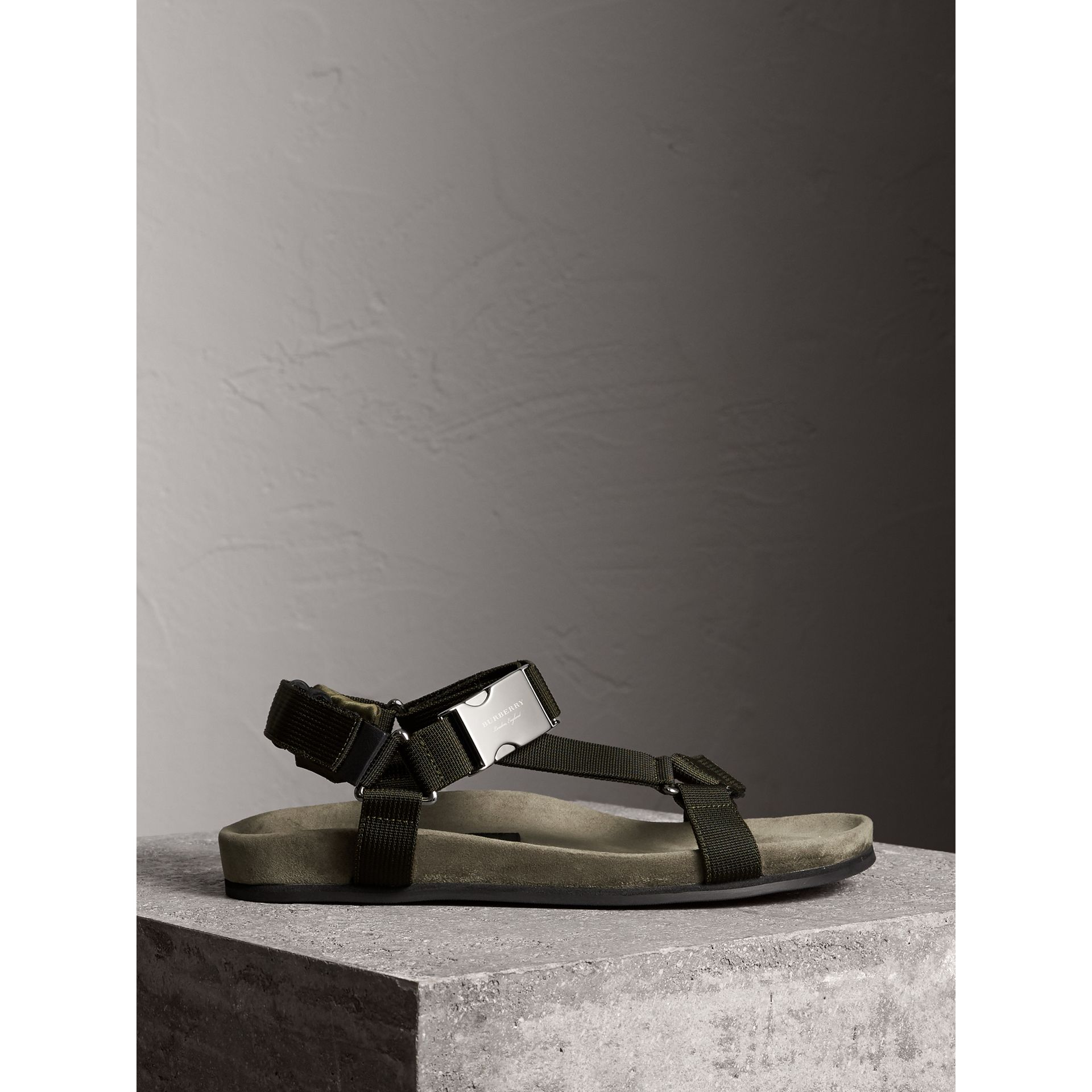 Three-point Strap Ripstop Sandals in Khaki - Men | Burberry - gallery image 5