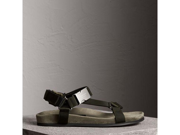 Three-point Strap Ripstop Sandals in Khaki - Men | Burberry - cell image 4