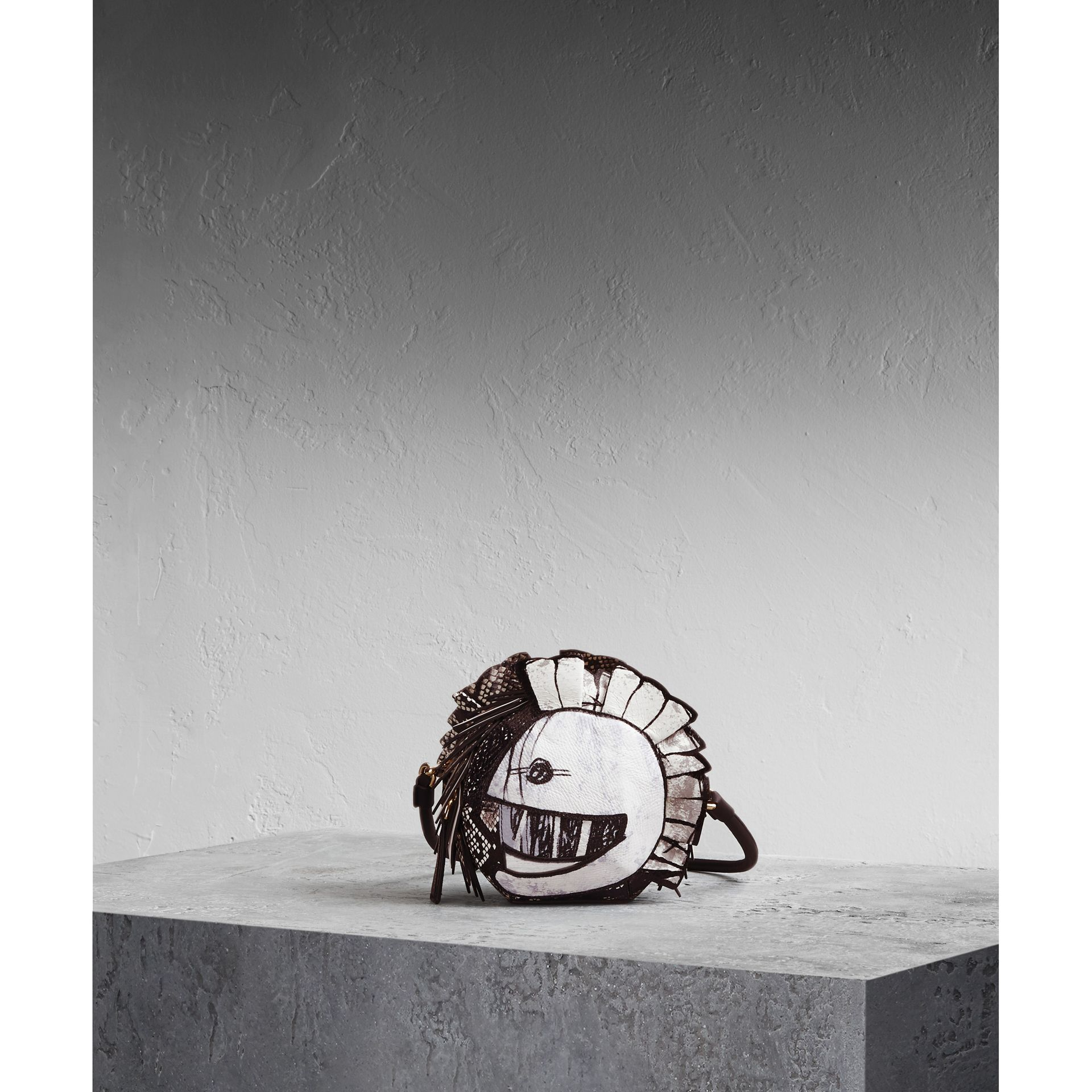 Leather and Snakeskin Pallas Helmet Shoulder Bag in Black/white - Women | Burberry - gallery image 1