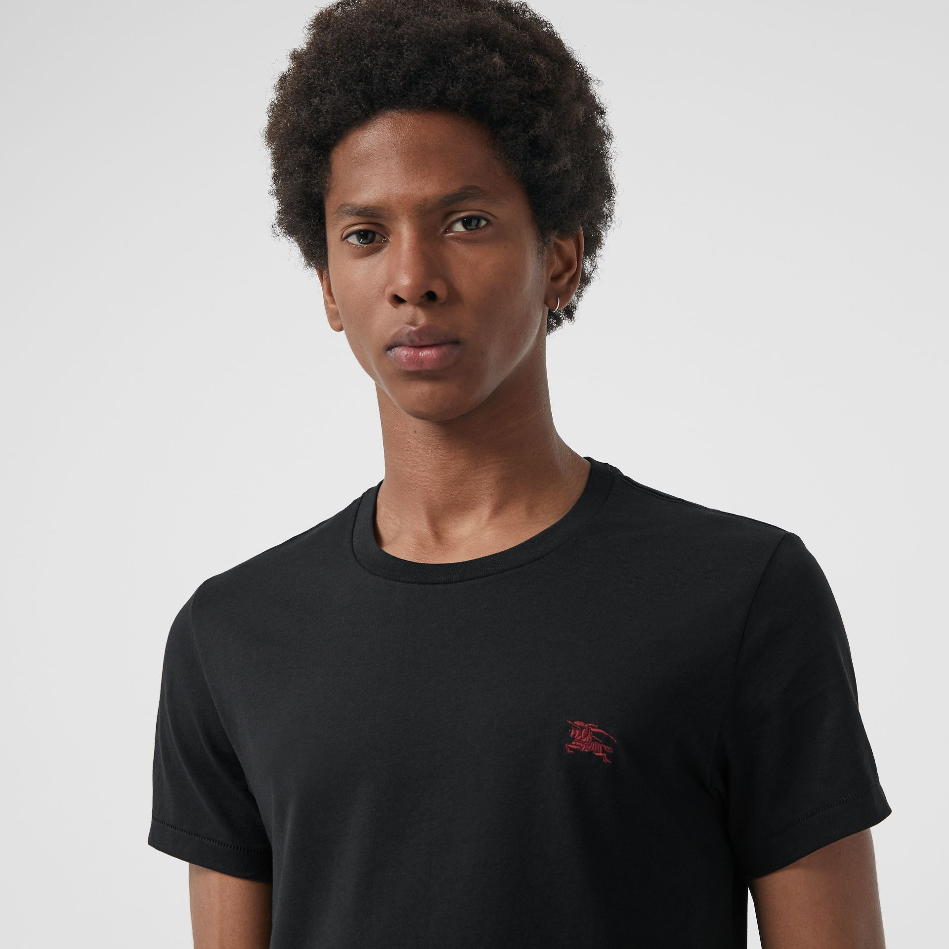 Cotton Jersey T-shirt in Black - Men | Burberry Hong Kong - gallery image 1