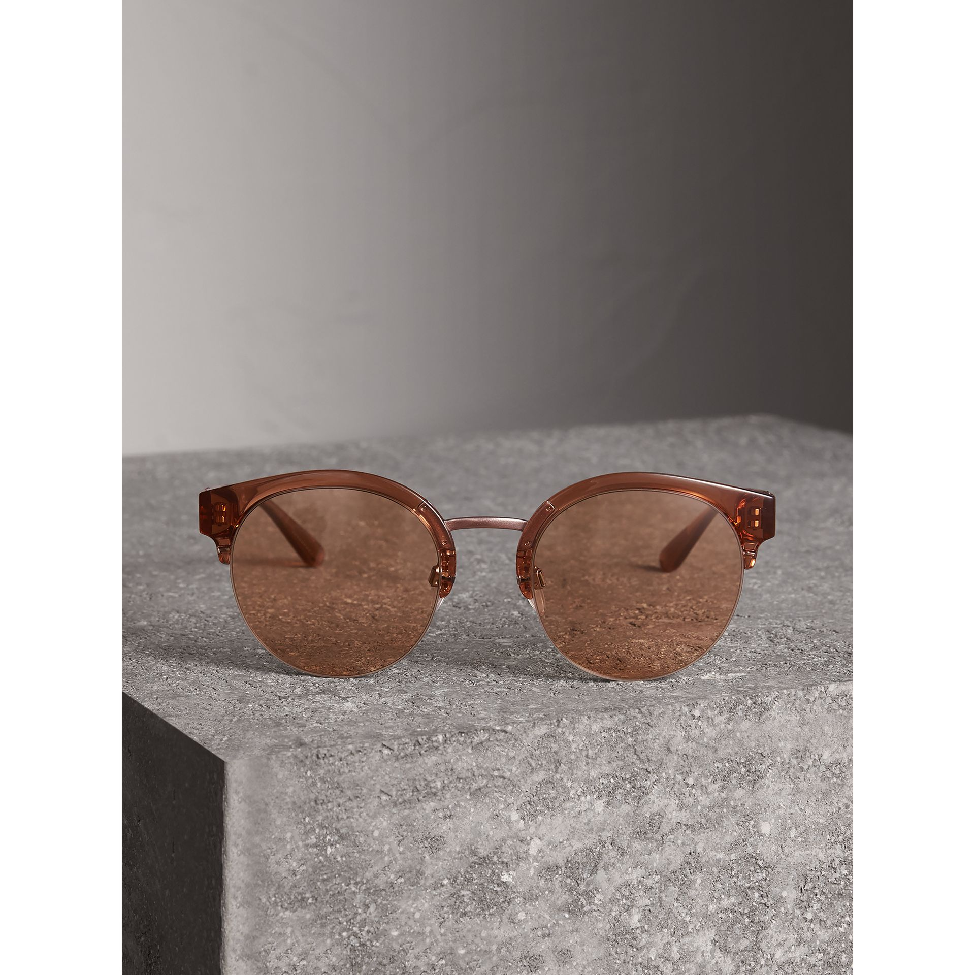 Check Detail Round Half-frame Sunglasses in Sand - Women | Burberry - gallery image 3