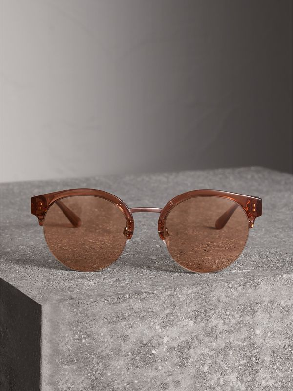 Check Detail Round Half-frame Sunglasses in Sand - Women | Burberry - cell image 3