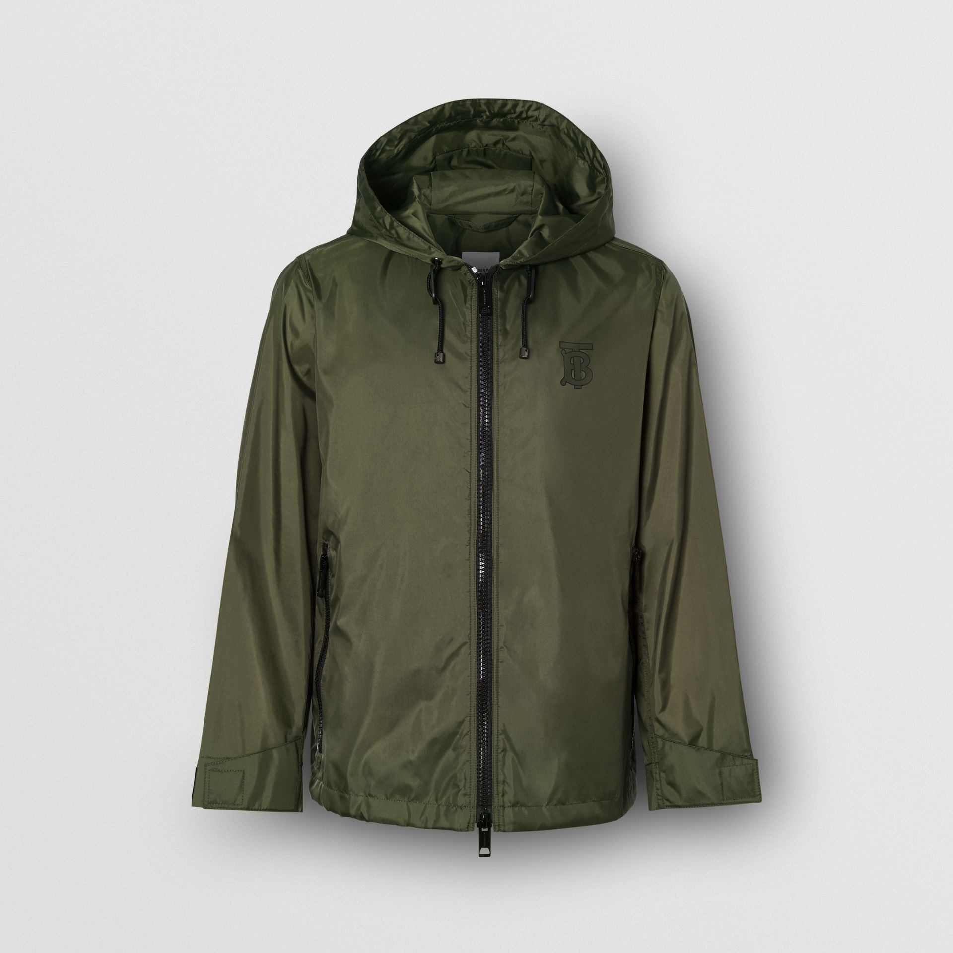 Monogram Motif Lightweight Hooded Jacket in Light Olive - Women | Burberry United States - gallery image 3