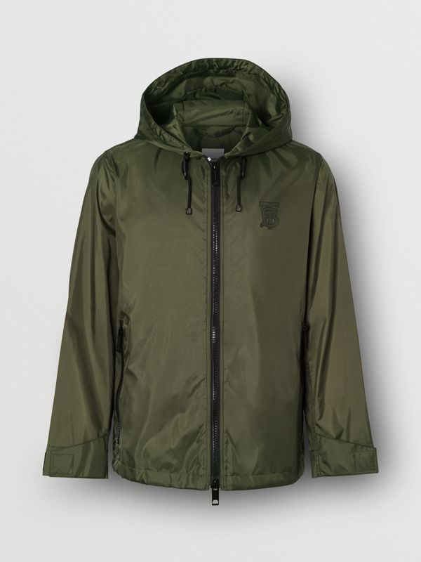 Monogram Motif Lightweight Hooded Jacket in Light Olive - Women | Burberry United States - cell image 3