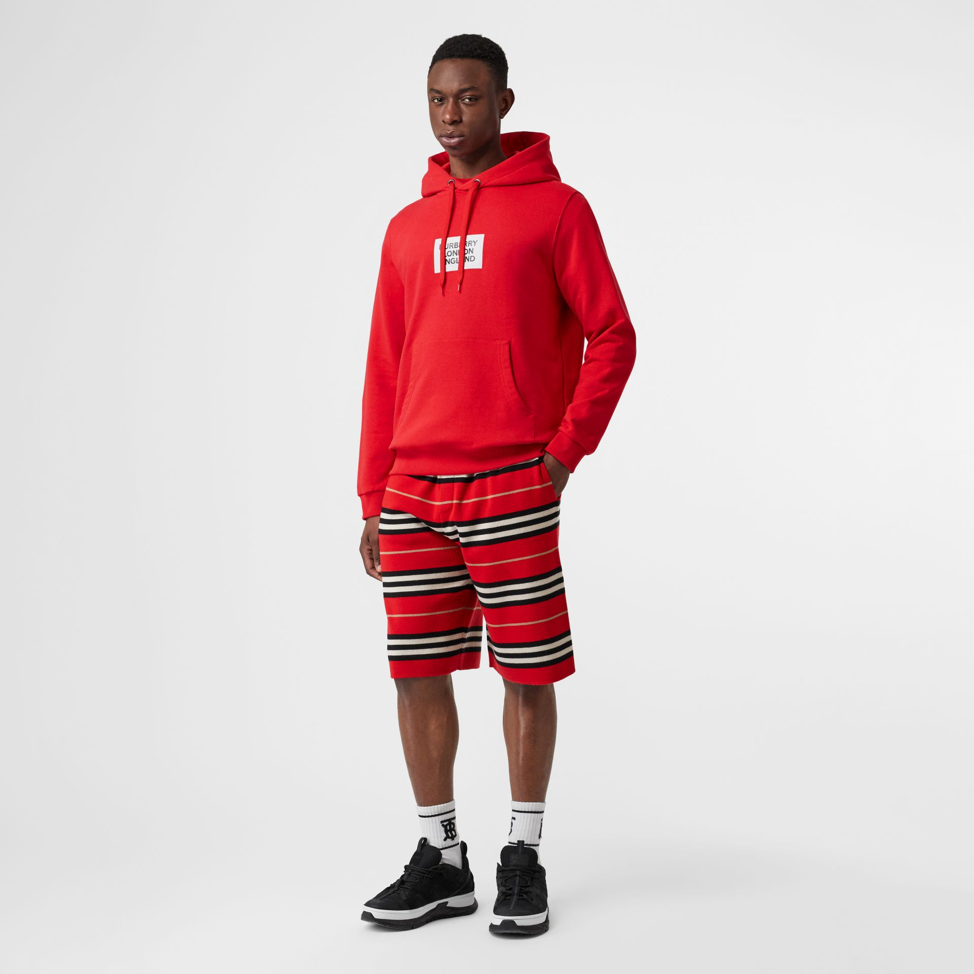 Logo Print Cotton Hoodie in Bright Red - Men | Burberry - gallery image 0