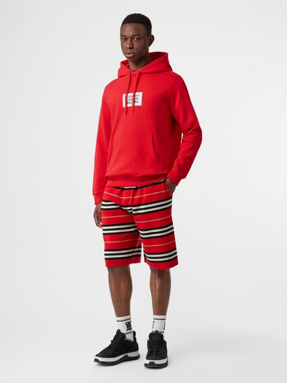 Logo Print Cotton Hoodie in Bright Red