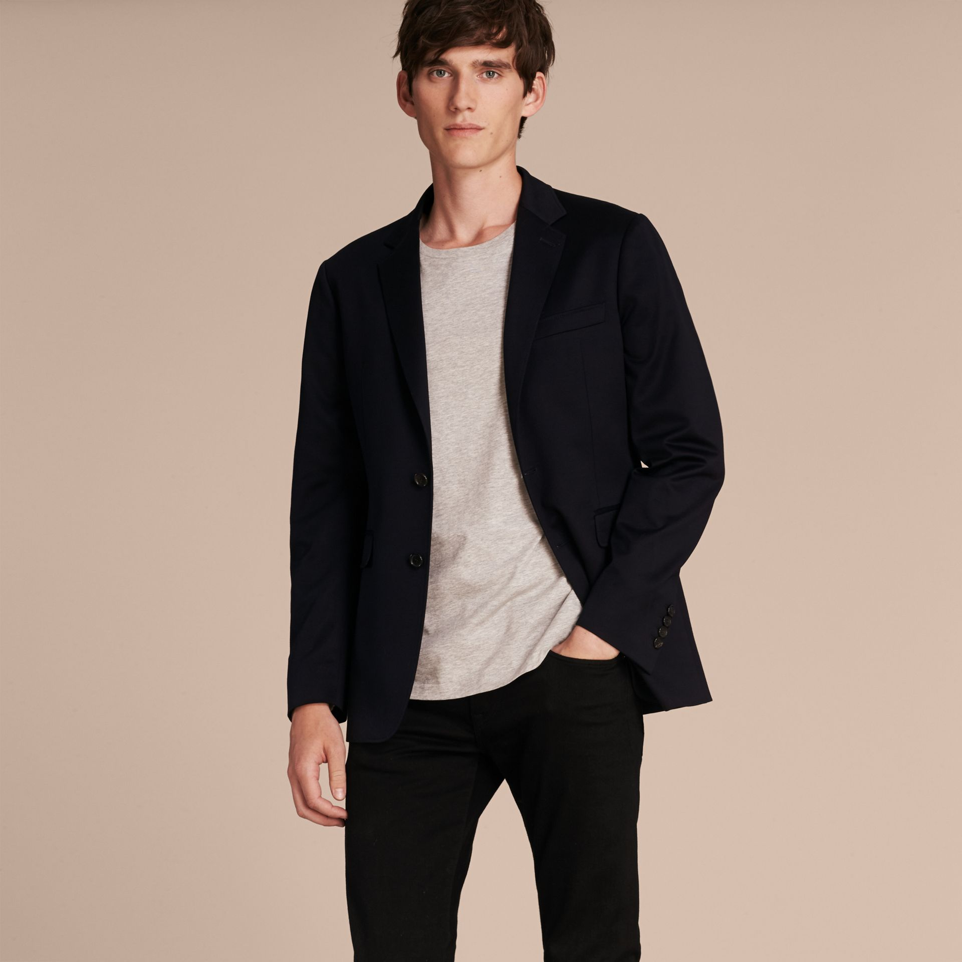 Navy Slim Fit Tailored Cotton Jersey Jacket Navy - gallery image 7