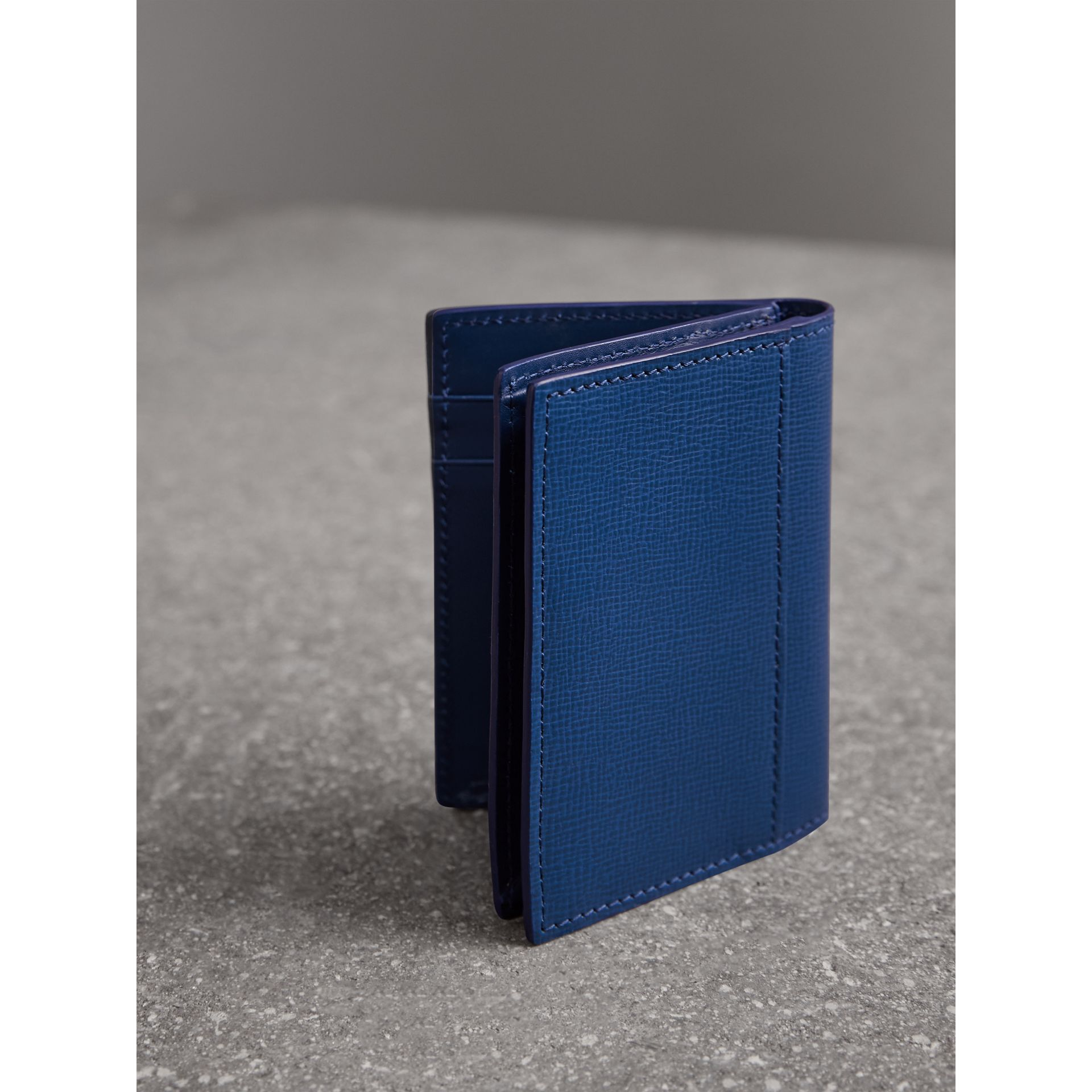 London Leather Folding Card Case in Deep Blue | Burberry - gallery image 2
