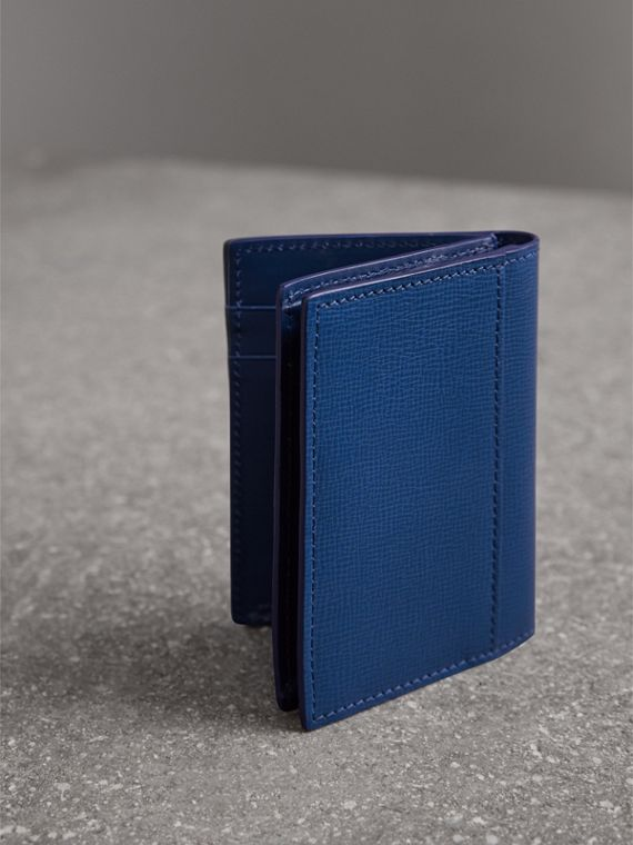 London Leather Folding Card Case in Deep Blue | Burberry Canada - cell image 2