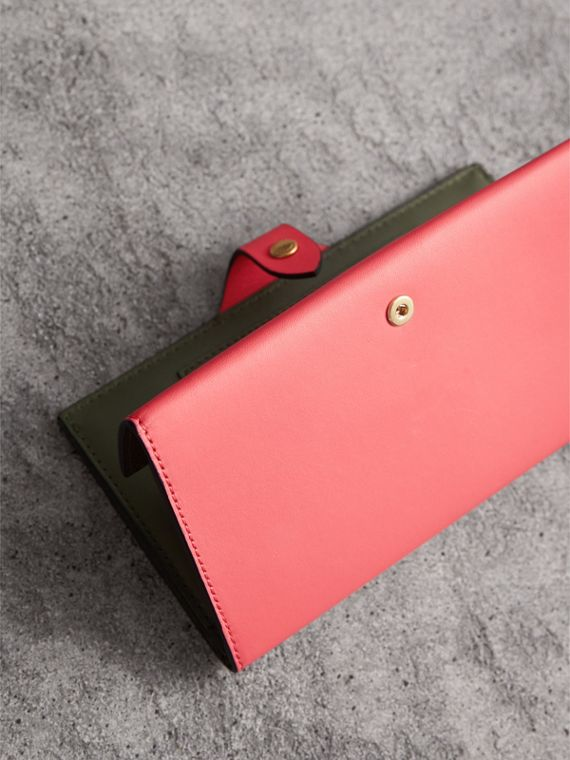 Equestrian Shield Two-tone Leather Continental Wallet in Peony Pink - Women | Burberry - cell image 2