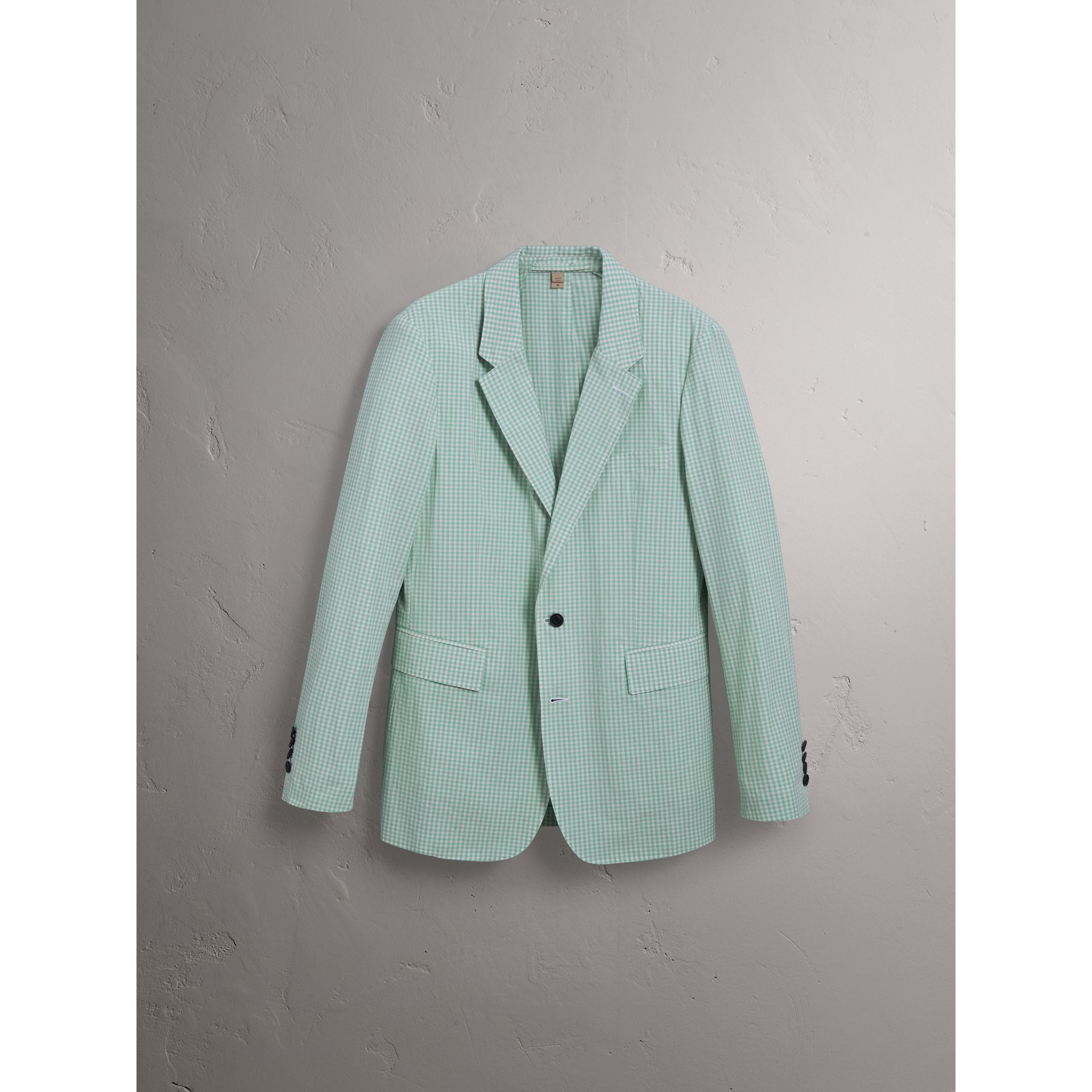 Slim Fit Gingham Cotton Tailored Jacket in Pale Opal - Men | Burberry - gallery image 3