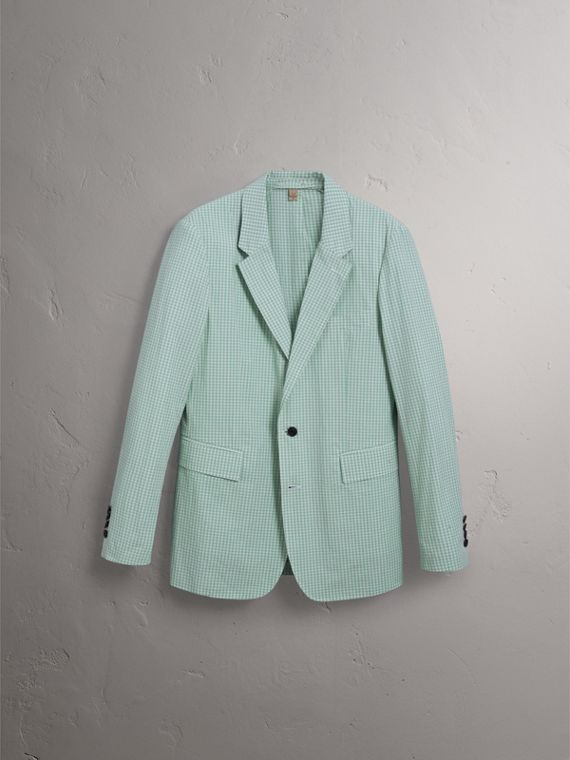 Slim Fit Gingham Cotton Tailored Jacket in Pale Opal - Men | Burberry United States - cell image 3
