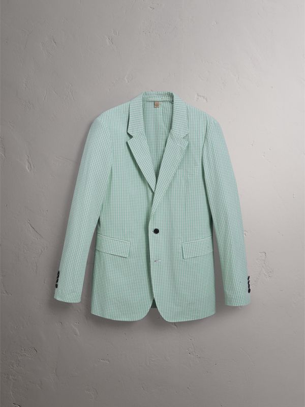 Slim Fit Gingham Cotton Tailored Jacket in Pale Opal - Men | Burberry - cell image 3