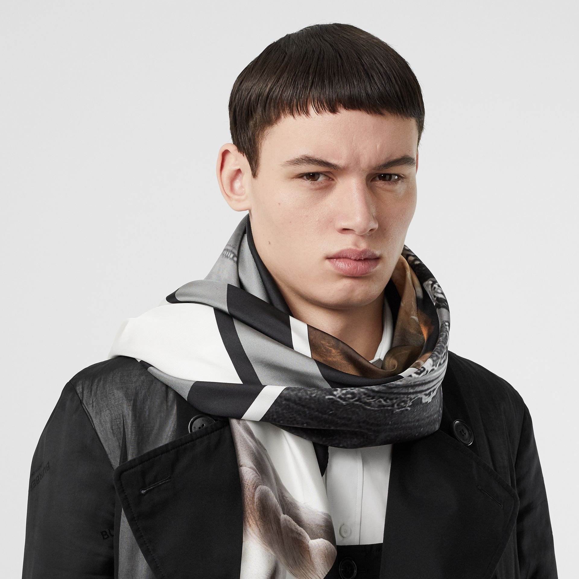 Montage and Logo Print Silk Large Square Scarf in Monochrome | Burberry United States - gallery image 3