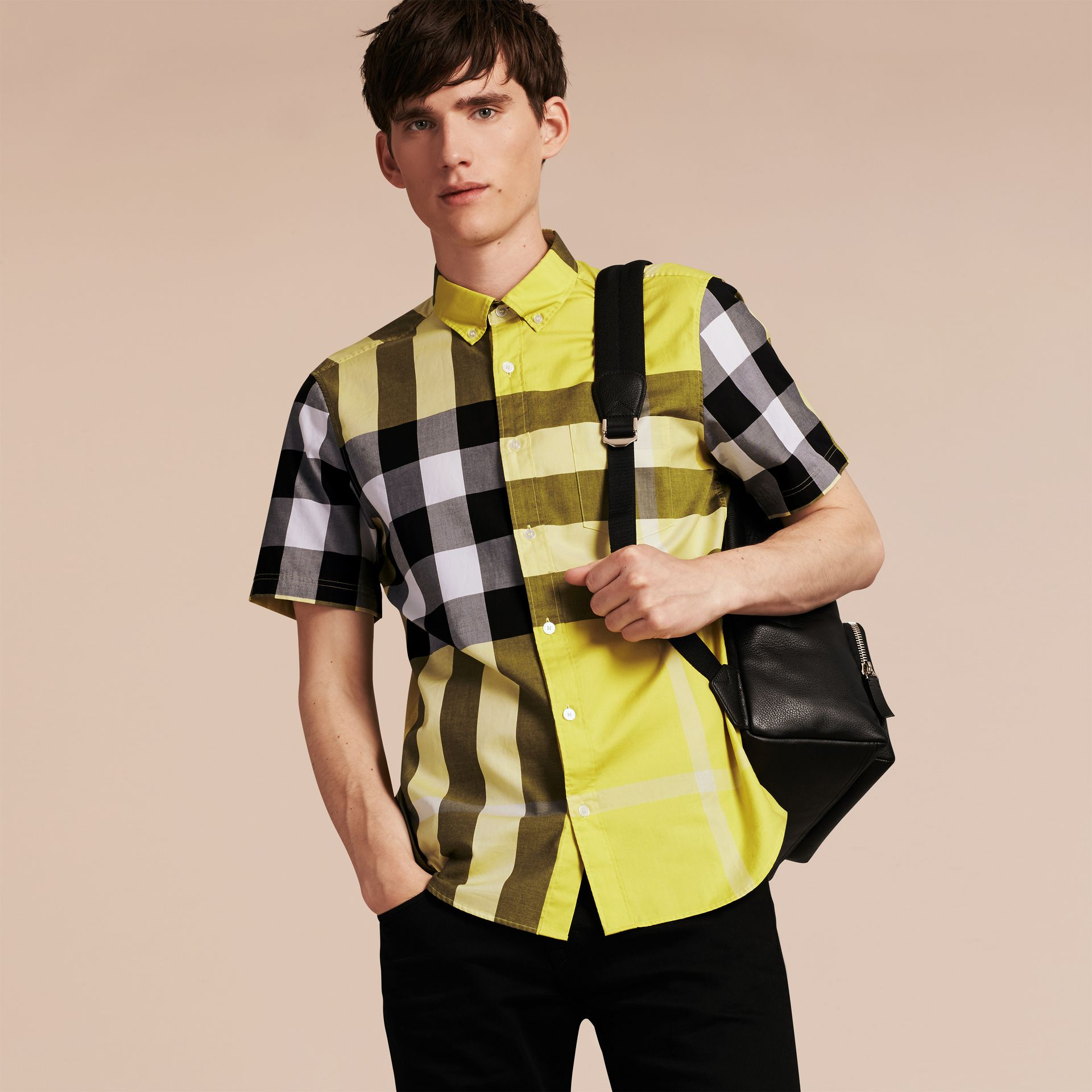 Pale yellow Short-sleeved Check Cotton Shirt Pale Yellow - gallery image 6