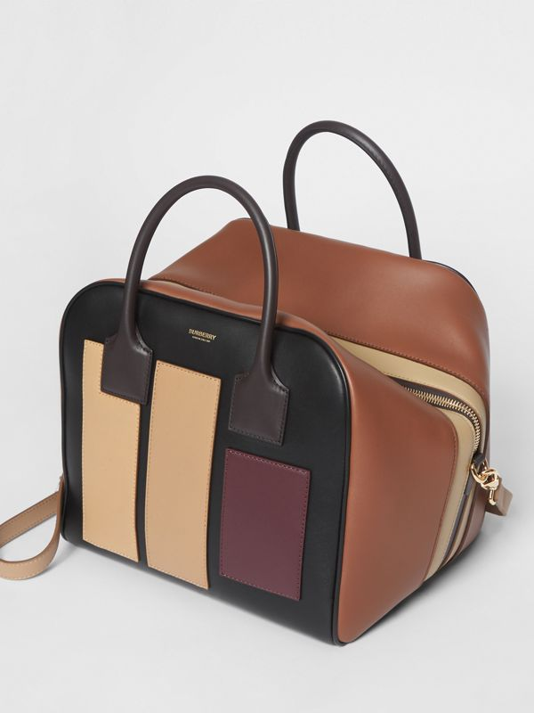 Medium Panelled Leather Cube Bag in Black - Women | Burberry Canada - cell image 3