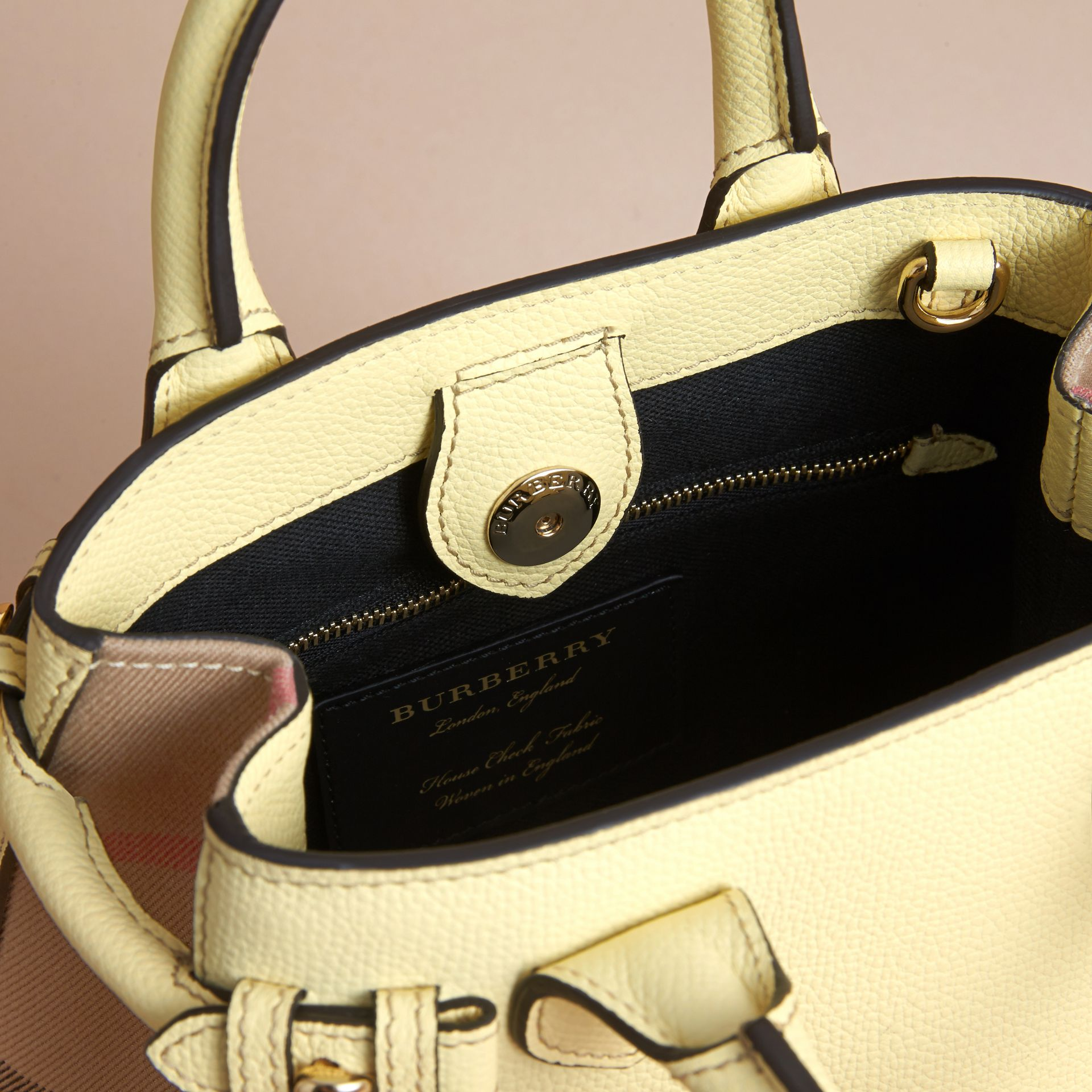The Baby Banner in Leather and House Check in Camomile Yellow - Women | Burberry Canada - gallery image 5