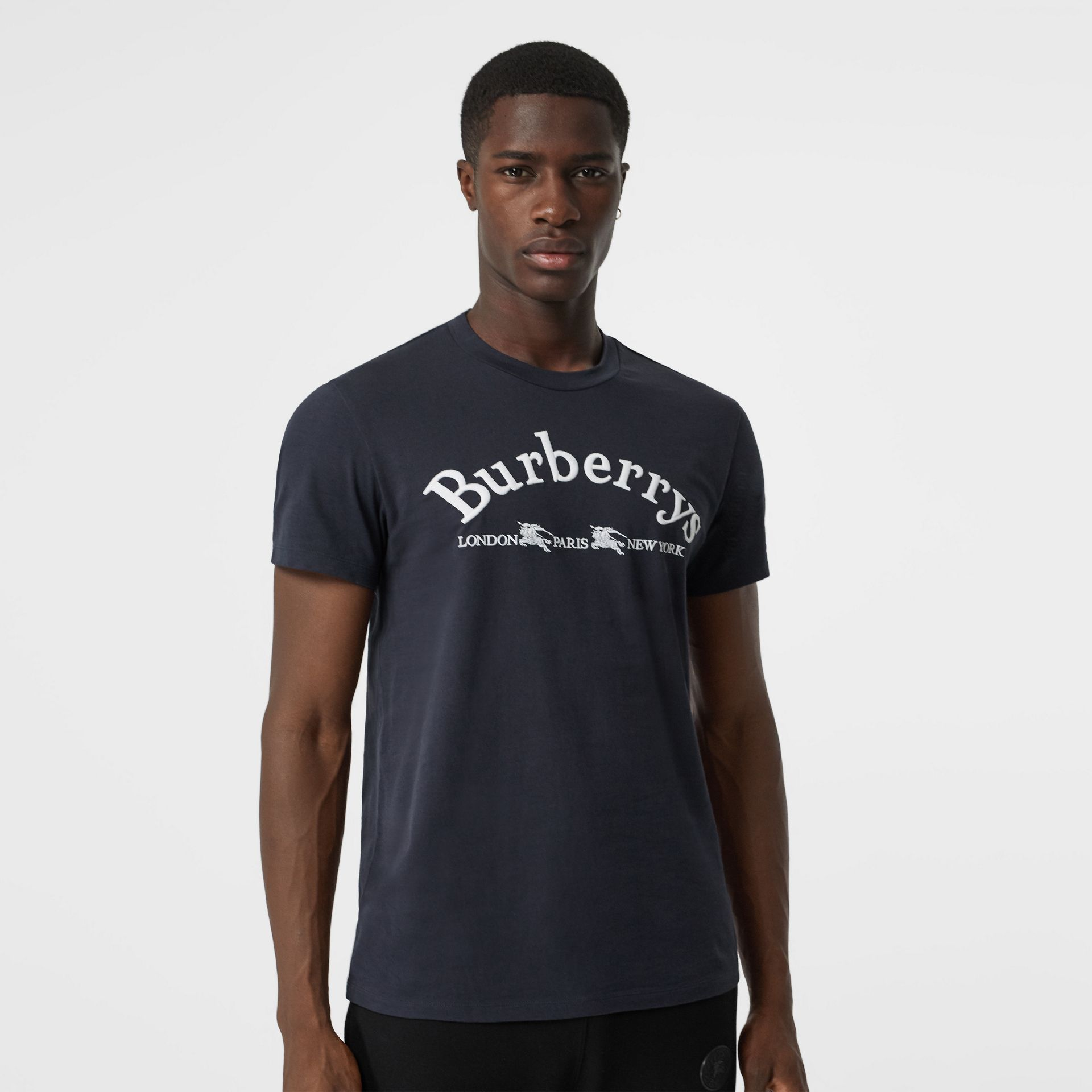 Archive Logo Cotton T-shirt in Navy - Men | Burberry - gallery image 4