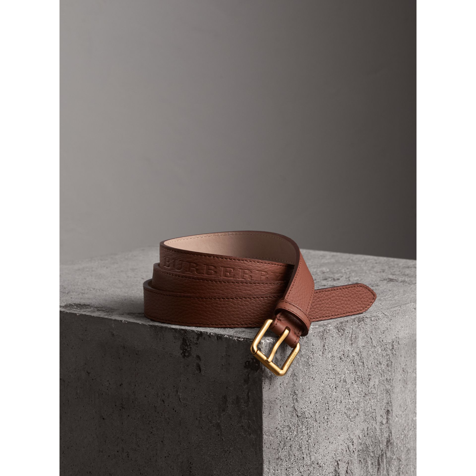 Embossed Leather Belt in Chestnut Brown - Women | Burberry United States - gallery image 0