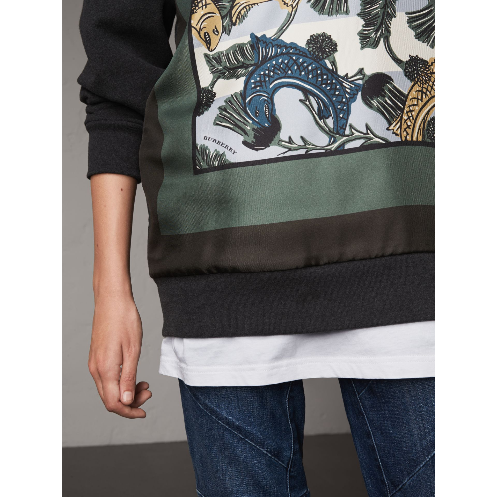 Unisex Beasts Print Silk Panel Cotton Sweatshirt in Charcoal Melange - Women | Burberry - gallery image 2