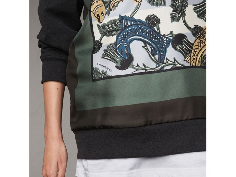 Unisex Beasts Print Silk Panel Cotton Sweatshirt in Charcoal Melange - Women | Burberry - cell image 1