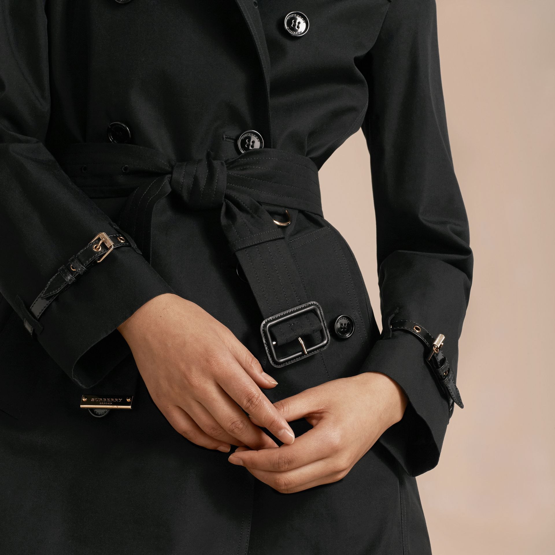 Black Leather Detail Cotton Gabardine Trench Coat Black - gallery image 5