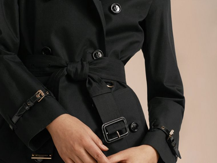 Black Leather Detail Cotton Gabardine Trench Coat Black - cell image 4