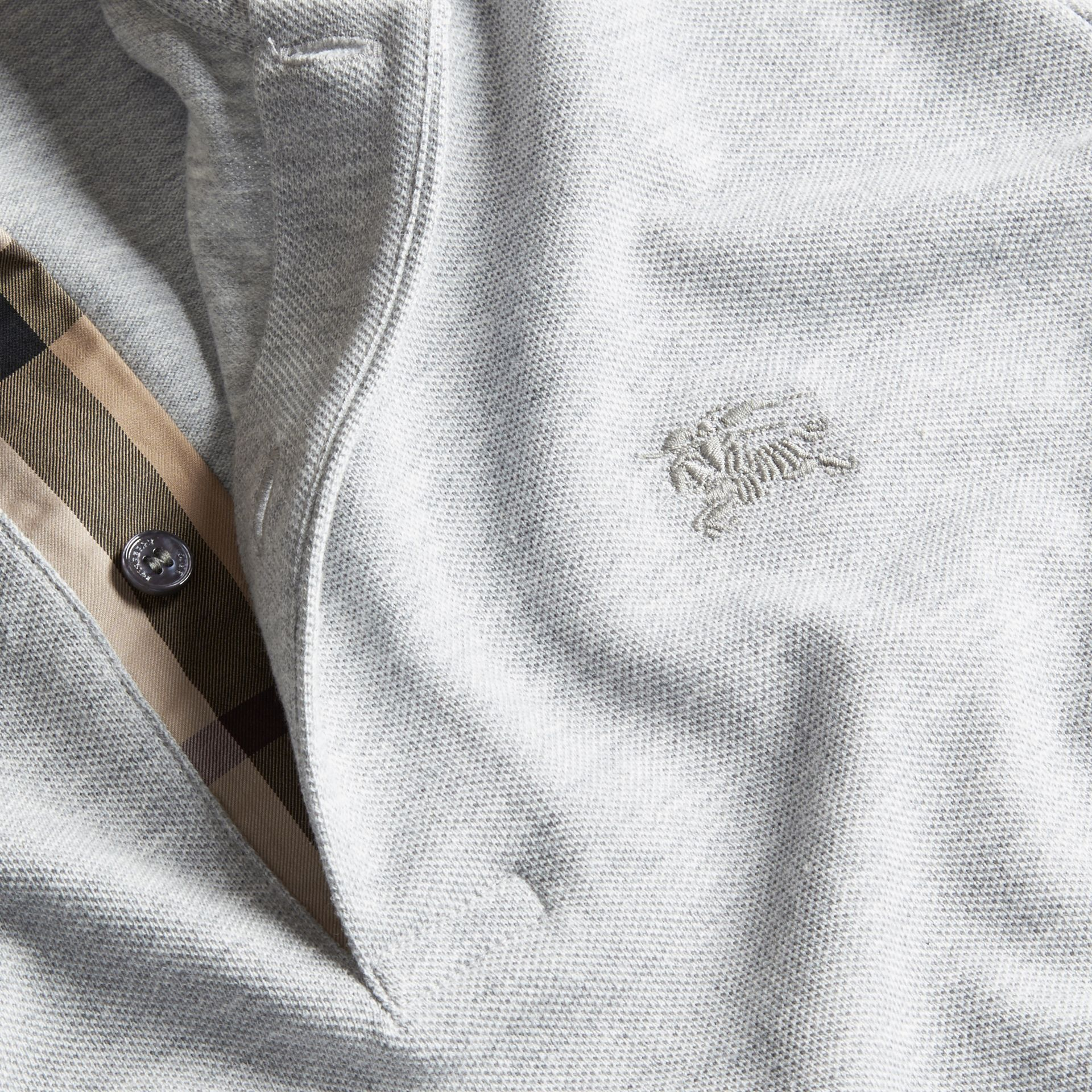 Check Placket Cotton Piqué Polo Shirt in Pale Grey Melange - Men | Burberry - gallery image 4