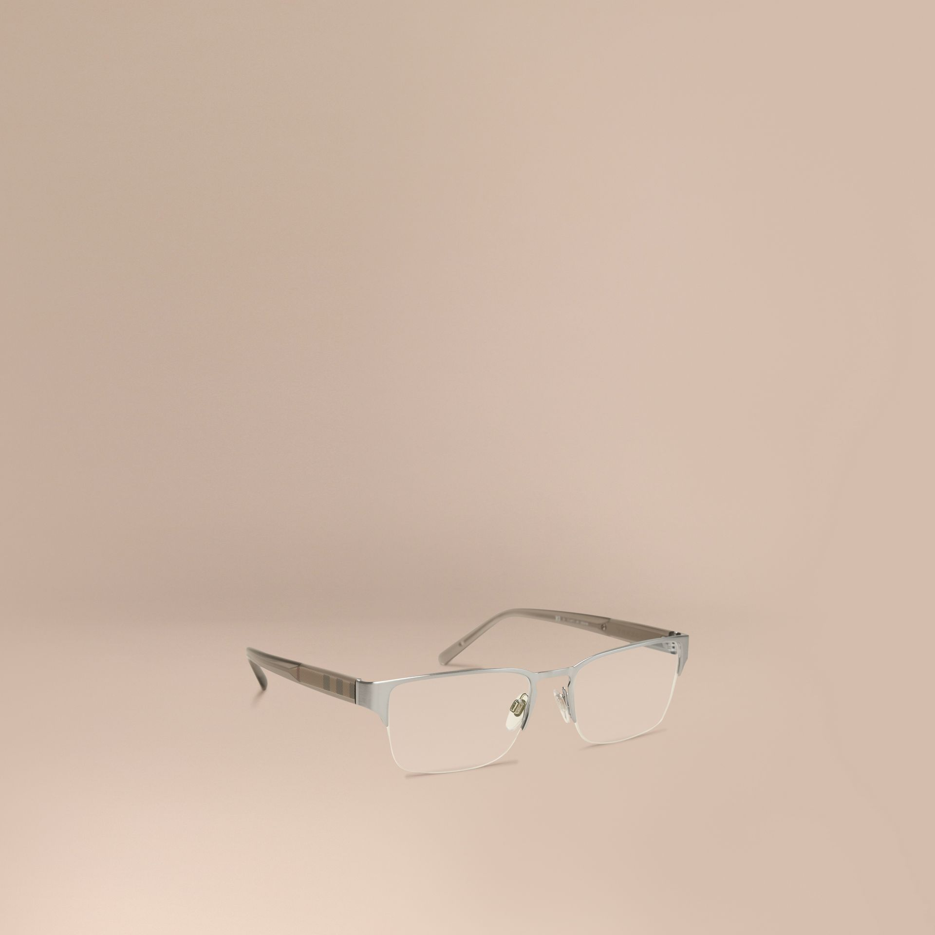 Check Detail Rectangular Optical Frames Brushed Silver - gallery image 1