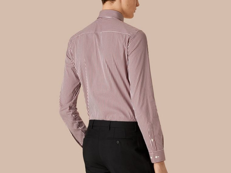 Borgogna bruno Camicia vichy button-down sfiancata in cotone stretch Borgogna Bruno - cell image 1