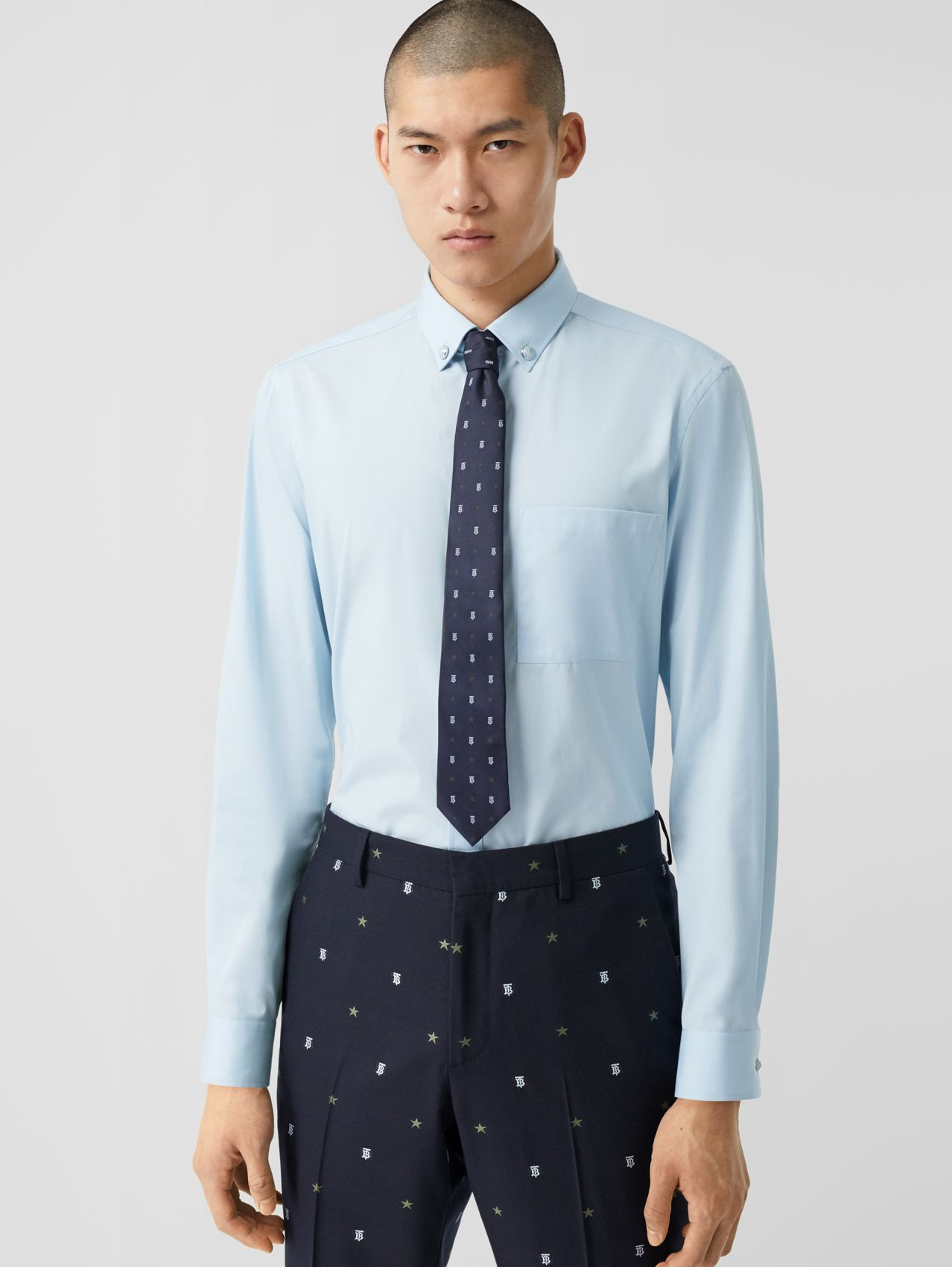 Slim Fit Stretch Cotton Poplin Shirt (Pale Blue)