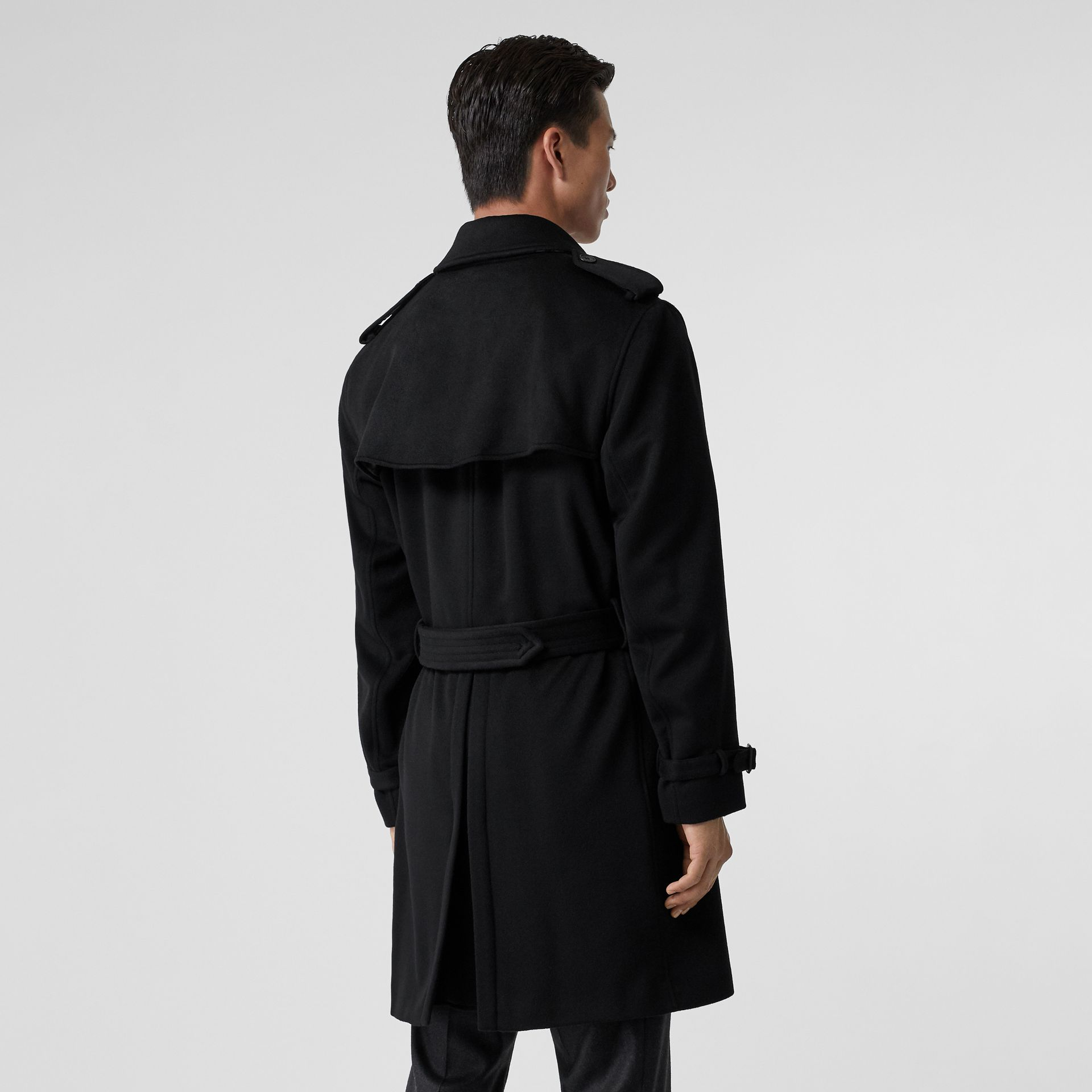 Cashmere Trench Coat in Black - Men | Burberry Australia - gallery image 2