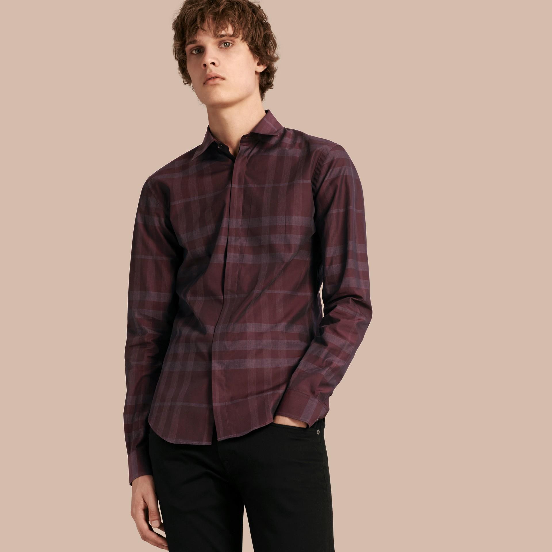 Deep burgundy Check Cotton Shirt Deep Burgundy - gallery image 1