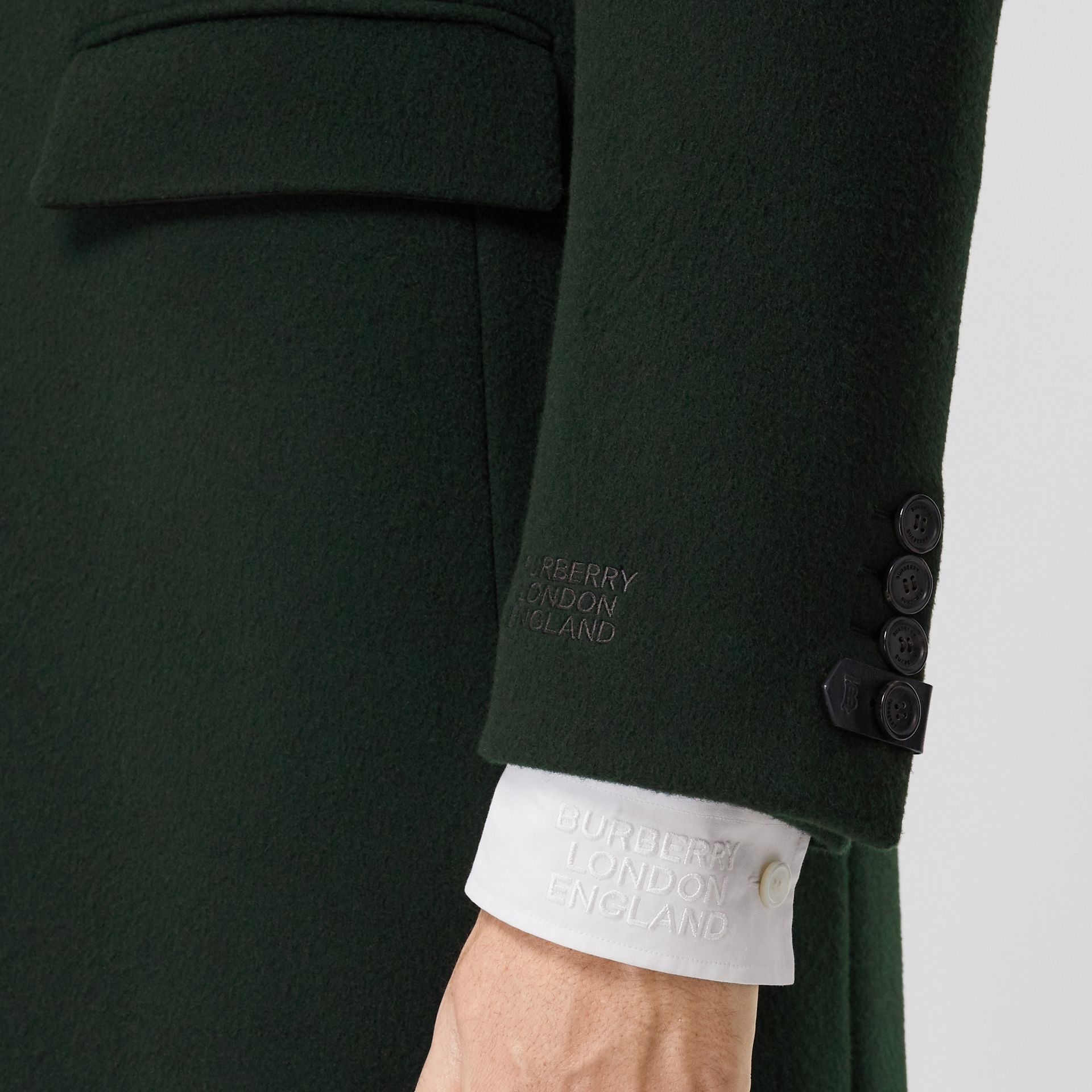 Velvet Trim Wool Cashmere Tailored Coat in Dark Pine Green - Men | Burberry - gallery image 5