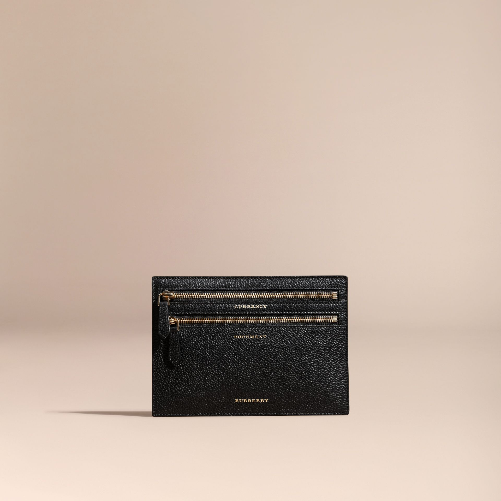 Grainy Leather Currency Wallet in Black | Burberry - gallery image 3