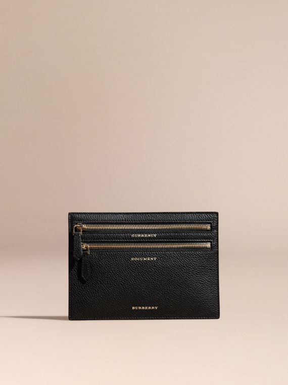 Grainy Leather Currency Wallet in Black | Burberry - cell image 2