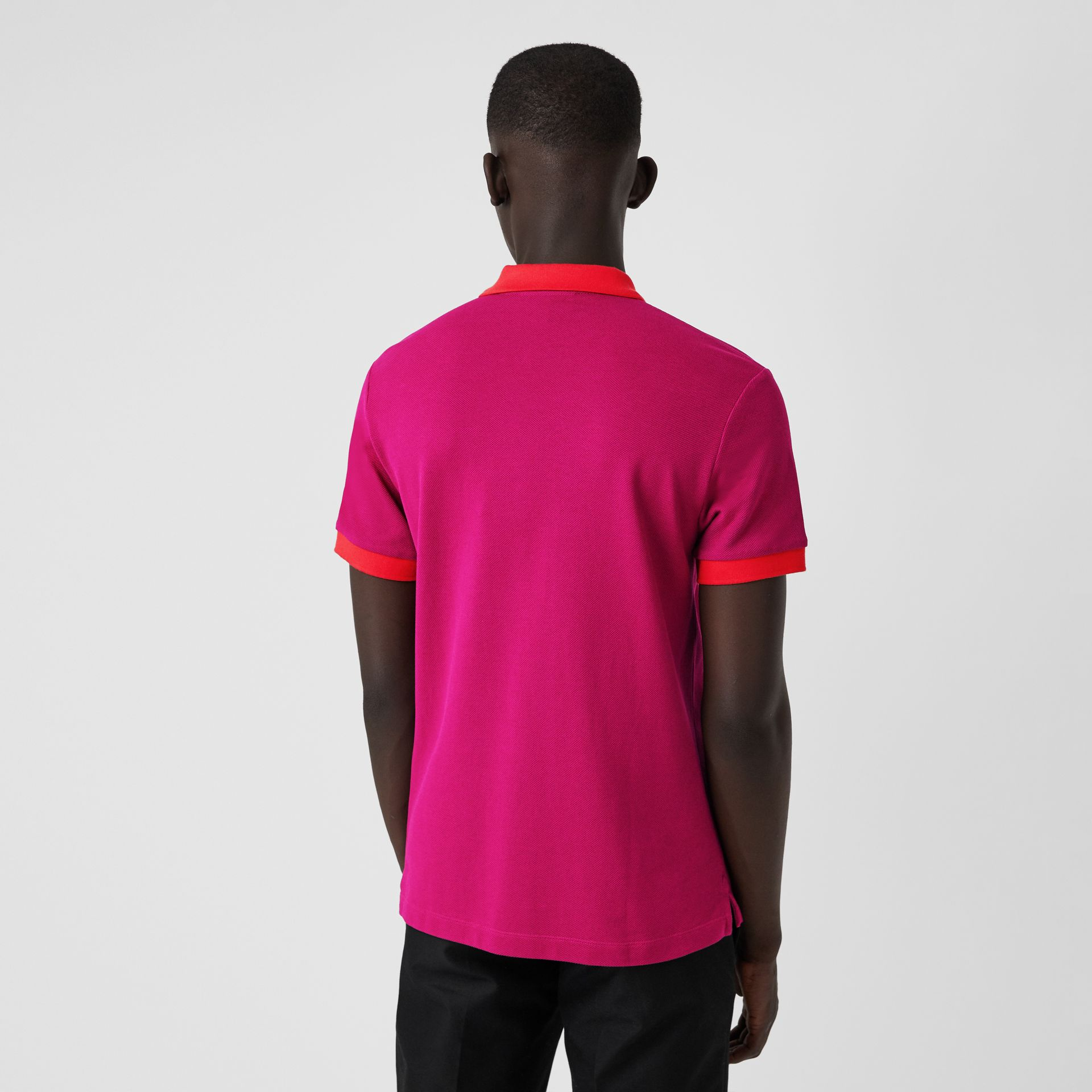 Contrast Collar Cotton Polo Shirt in Plum Pink - Men | Burberry - gallery image 2