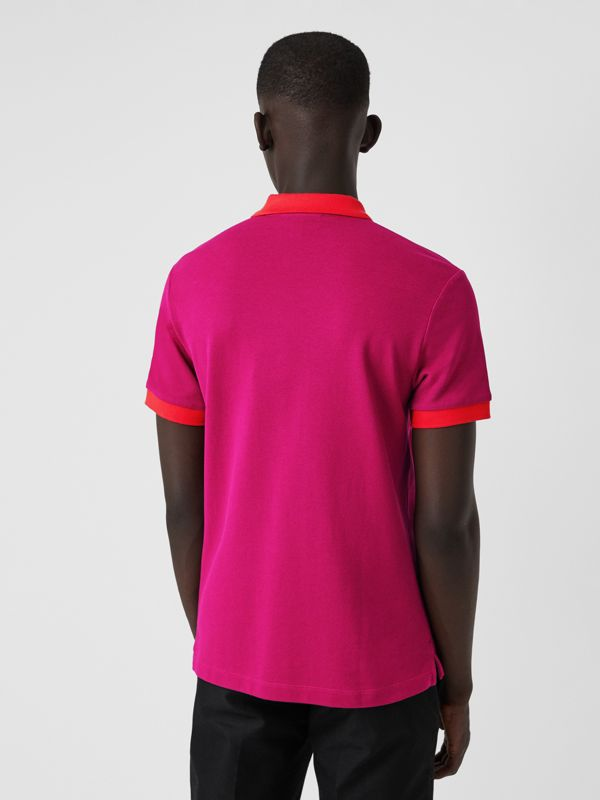 Contrast Collar Cotton Polo Shirt in Plum Pink - Men | Burberry - cell image 2