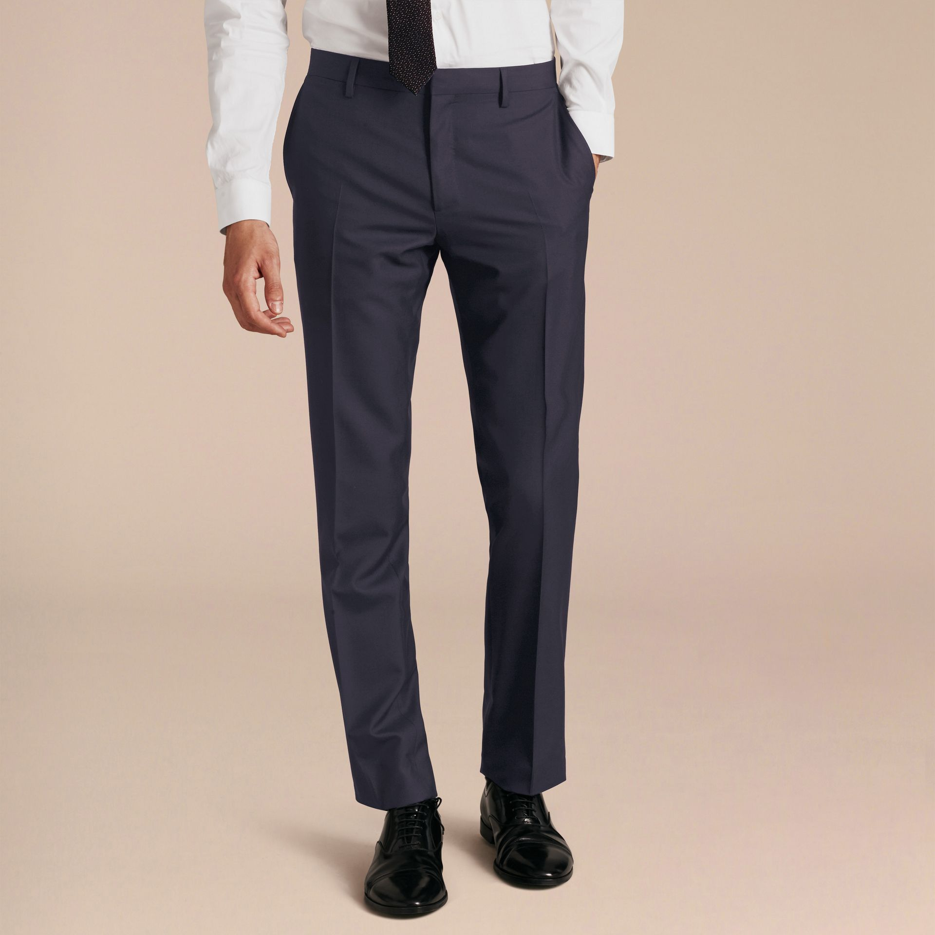 Modern Fit Wool Trousers in Navy - Men | Burberry - gallery image 6