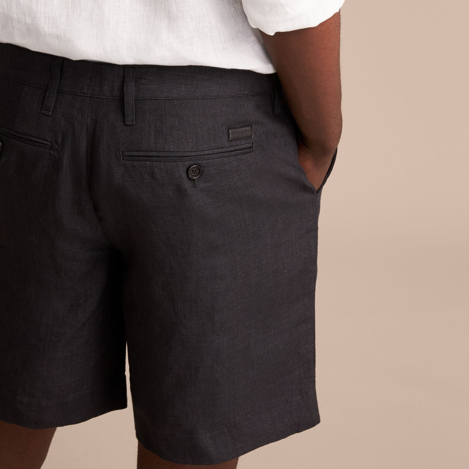 Lightweight Linen Shorts in Charcoal - Men | Burberry - gallery image 5