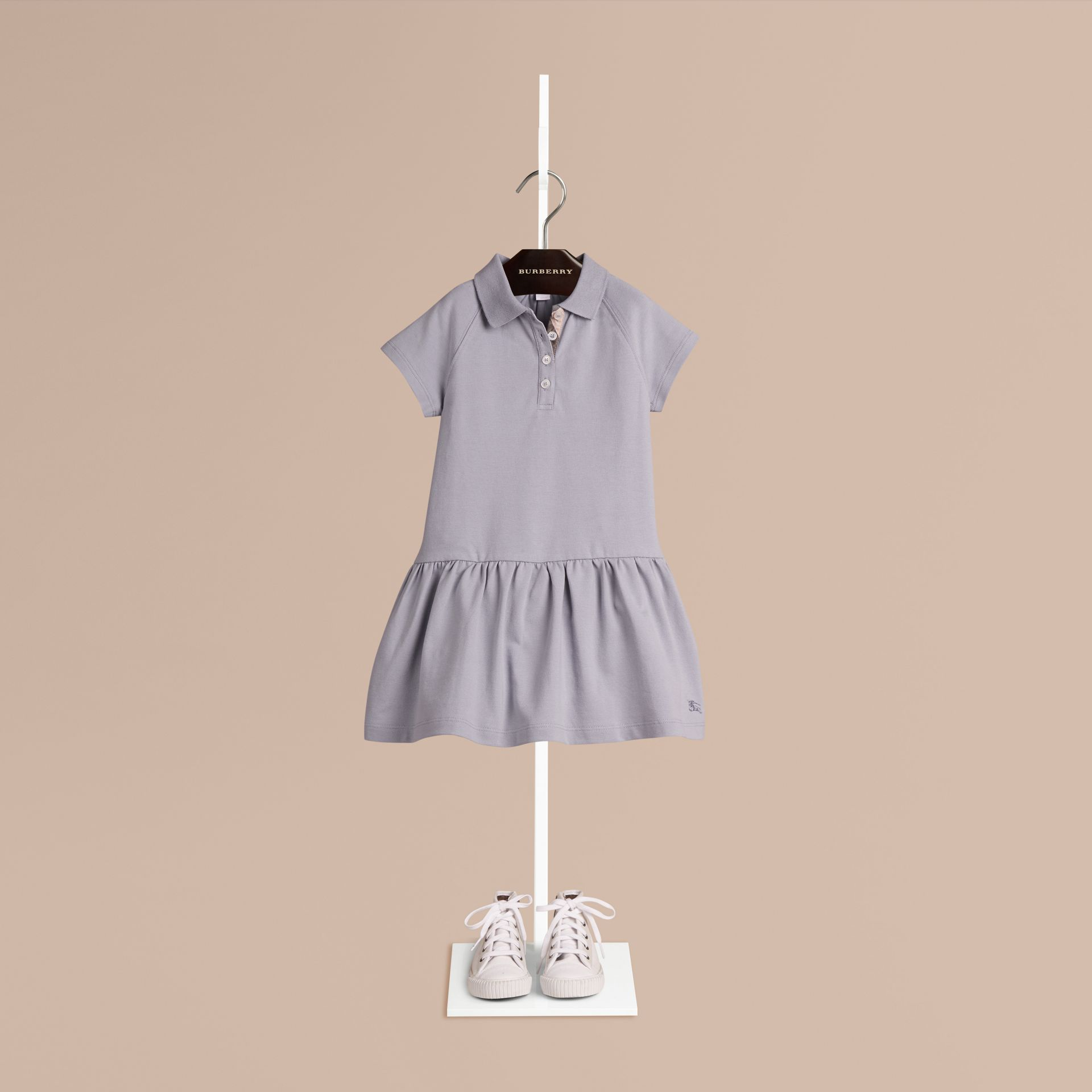 Pale lupin blue Check Placket Cotton Blend T-Shirt Dress Pale Lupin Blue - gallery image 1