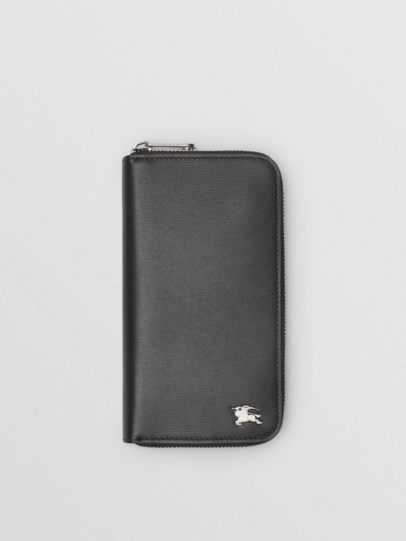 London Leather Ziparound Wallet in Black
