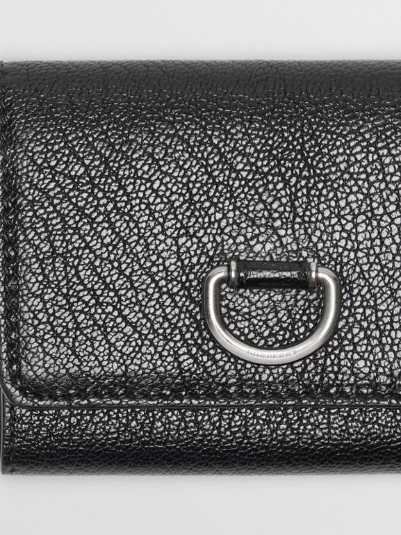 Small D-ring Leather Wallet in Black - Women | Burberry Canada - cell image 1