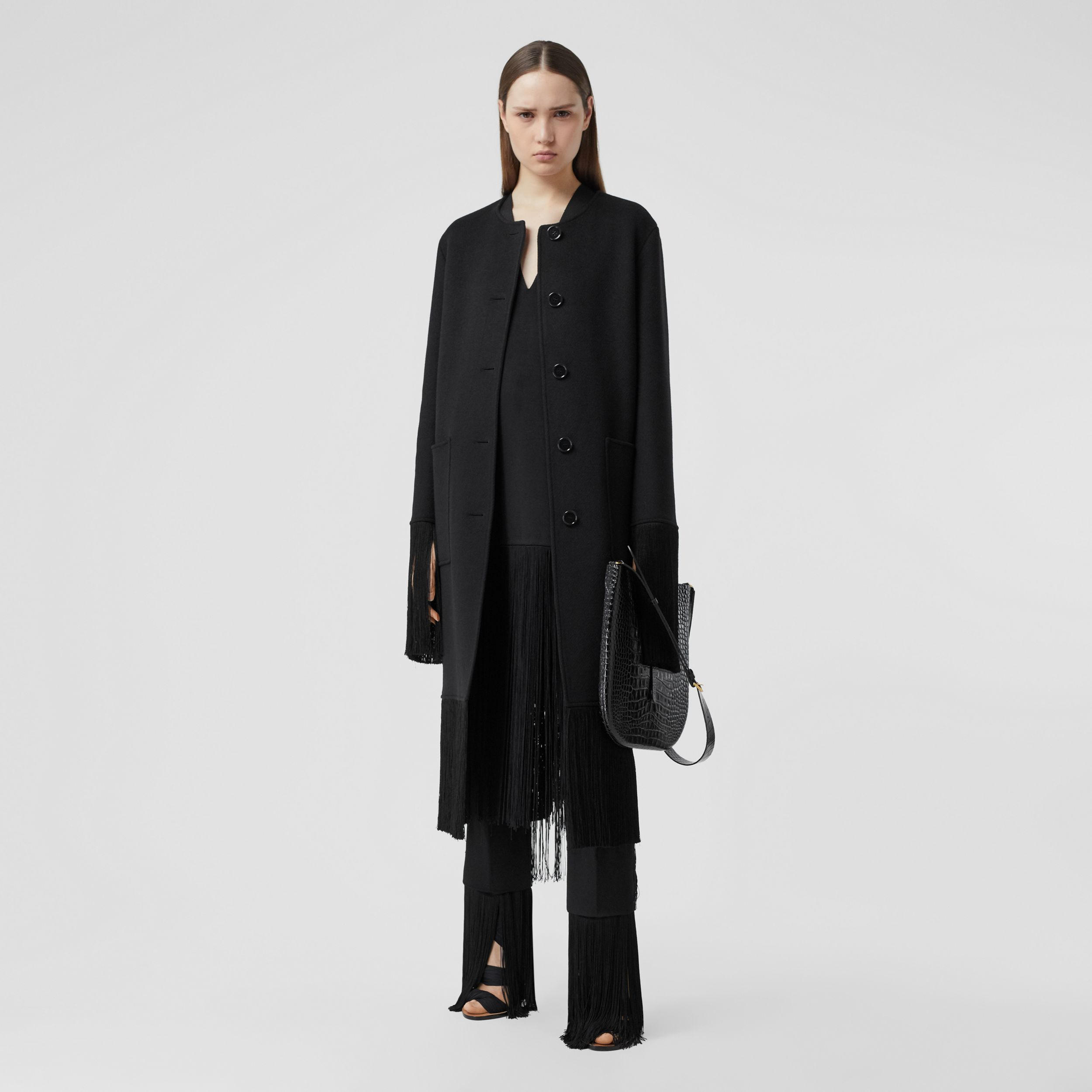Fringed Double-faced Wool Cashmere Car Coat in Black - Women | Burberry - 1