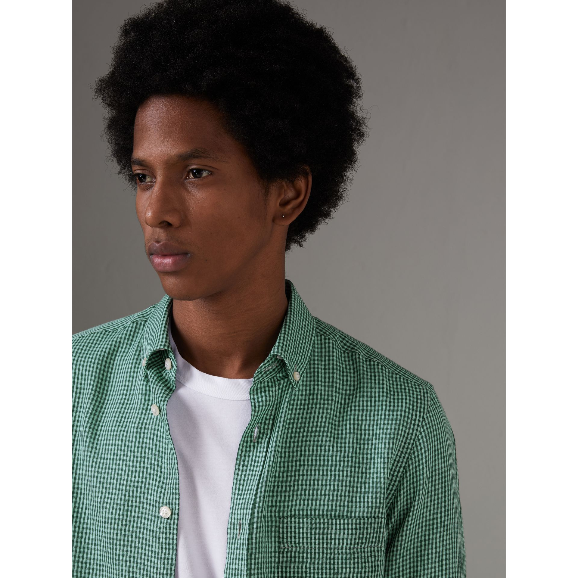 Button-down Collar Gingham Cotton Shirt in Aqua Green - Men | Burberry - gallery image 1
